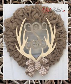 Burlap Wreath Antler Monogram by EllieBelliesDesigns on Etsy