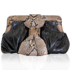 BE & D Black Python Clara Clutch http://www.consignofthetimes.com/product_details.asp?galleryid=6945