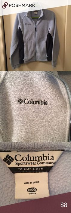 Columbia two tone fleece zip up Columbia two tone fleece zip up. Light blue and navy color. Main zipper works as well as two zippers for pockets. Worn with love but still has life left! No stains or tears. Kids 18/20 but could fit as a womens small. Columbia Jackets & Coats