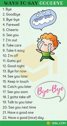 23 Ways to Say Goodbye in English How to Say Goodbye in English! List of other ways to say goodbye in English with example sentences and ESL pictures. Learn these goodbye synonyms to improv English Sentences, English Idioms, English Phrases, Learn English Words, English Lessons, English English, English Study, French Lessons, Spanish Lessons
