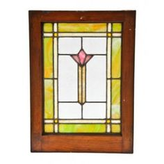 intact early 20th century american arts & crafts style leaded art glass window with abstract floral motif	 - h. eberhardt & co., chicago, il...
