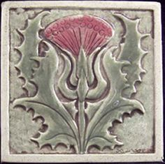 Art Nouveau-style Thistle tile from Earthsong Tiles Art Nouveau Tiles, Art Deco, Arts And Crafts For Adults, Arts And Crafts House, Arts And Crafts Movement, Ceramic Tile Art, Clay Tiles, Mosaic Art, Art And Craft Videos