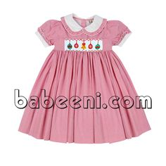 X-mas ornament smocked dress, gorgeous girl smocked dress view details: http://babeeni.com/Detail-gorgeous-x-mas-ornament-smocked-dress-for-christmas---dr-2304-6317.aspx