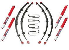 "Skyjacker Sport Series Leaf Spring Kits are the"" Standard"" in Leaf Springs today, great for the budget minded Off roader or Weekend Warrior. Looking for a great spring from a name you can trust, this new spring from Skyjacker is the answer. Guaranteed to provide years of service and the ride quality you have come to expect from Skyjacker. As with All Skyjacker Leaf Spring Packs they are tapered leaves yielding more flex on the leaf ends while distributing loads more evenly, Teflon Slider…"
