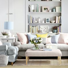 Pastels grey living room Ideal Home Housetohome.co.uk