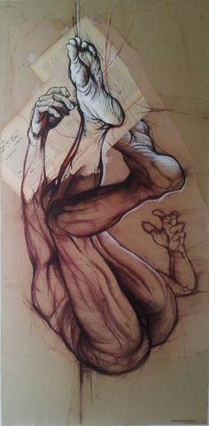 L'ECRIT et les MAUX II-150x75cm 2014 (Painting),  75x150 cm par CLAUDE DUVAUCHELLE Corps humain suspendu les pieds en l'air. Dessin sur papier recyclé avec collage de pages de livre dessinées. Family Artwork, Sketches, Illustration, Drawings, Drawing Illustrations, Art Drawings Sketches, Figure Drawing, Art, Character Sketch