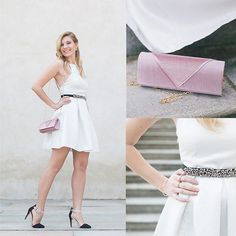 Get this look: http://lb.nu/look/8690913  More looks by Cristina Siccardi: http://lb.nu/csiccardi  Items in this look:  Oh My Love London White Dress, Stradivarius Black And Blush Heels, Anna Field Pink Pochette   #elegant #romantic #wedding #fashionista #sparkly #trendy #summer #seaside
