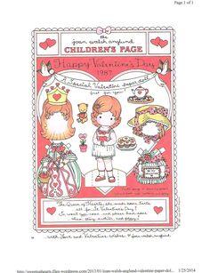 FREE Printable Valentine Paper Dolls by Joan Walsh Anglund My Funny Valentine, Vintage Valentines, Happy Valentines Day, Printable Valentine, Free Printable, Printable Vintage, Valentines Art, Joan Walsh, Paper Art