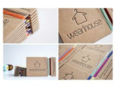 Wearhouse Business Card with thread wrapped around it. || Uniquely Shaped Business Cards