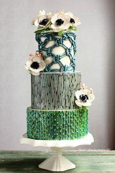 MACRAME VINTAGE WEDDING CAKE by Jessica MV - http://cakesdecor.com/cakes/207262-macrame-vintage-wedding-cake