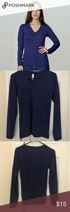 American Apparel Long Sleeve V-Neck Tee Unisex Long Sleeve V-Neck Tee Color: Tri-blend Indigo  Brand new, no tag. American Apparel Unisex Tri-Blend Long Sleeve V-NeckTee in Indigo. This tee is super soft and comfortable. Fits TTS.  -Material: 50% polyester, 25% cotton and 25% rayon -Has a durable, ribbed v neckband and hemmed cuffs American Apparel Tops Tees - Long Sleeve