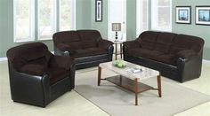 Acme Furniture - Connell 2 Piece Leather Sofa Set in Chocolate - Grey And Brown Living Room, Leather Living Room Set, Acme Furniture, Living Room Furniture, Living Room Decor, Furniture Design, Couch And Loveseat, Sofa Set, Chocolate Living Rooms