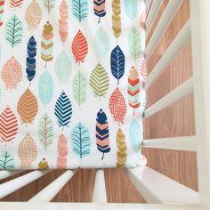 Feather crib sheet, cot sheet, custom nursery, custom baby bedding, crib bedding, nursery, baby bedding,native american, feathers, blue