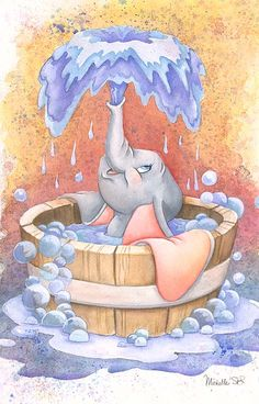 Dumbo Playing in Water Art