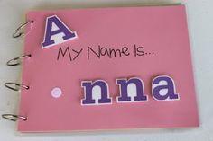 Para llevárselo a casa cuando empiecen a trabajar el nombre. Quiet book ideas, using paper cut outs and Velcro.