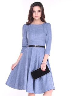 Shop Work Dresses - Lavender Solid Slash Neck 3/4 Sleeve Linen Midi Dress online. Discover unique designers fashion at StyleWe.com.