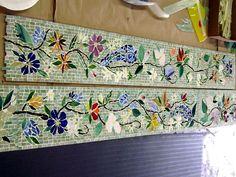 mosaic border tiles in floral motif designer glass mosaics designer glass mosaics