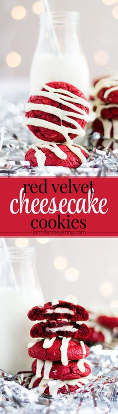 Red Velvet Cheesecake Cookies - Fun red velvet cookies made with boxed cake mix, stuffed with cream cheese and drizzled with white chocolate. Red Velvet Cheesecake Cookies, Red Velvet Desserts, Red Velvet Recipes, Red Velvet Cookies, Cheesecake Cupcakes, Velvet Cake, Dessert Simple, Holiday Baking, Christmas Baking