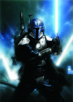 a Jedi's worst fear. a Mandalorian with a lightsaber! Jedi can just use the force to pin the Mandalorian to a wall and disarm or kill him or her. Star Wars Fan Art, Star Wars Rpg, Star Wars Jedi, Star Wars Pictures, Star Wars Images, Chasseur De Primes, Cuadros Star Wars, Mandalorian Cosplay, Jedi Cosplay