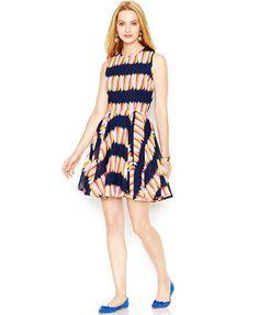 Maison Jules Sleeveless Floral-Print Flared Dress