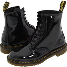 Dr. Martens Patent Black Boots! Still breaking them in... I'll be wearing these all summer. #footsweatdgaf