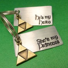 Legend of Zelda Inspired - He's My Hero & She's My Princess - A Set of 2 Hand Stamped Keychains in Aluminum or Copper w/ Triforce Charm