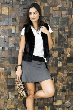 #debrummodas #inverno #saia #colete #style #estilo #moda #fashion #modafeminina