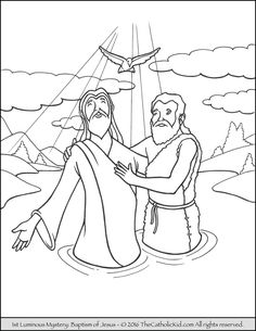 Jesus is Baptized Bible Coloring Pages Bible Color sheets and