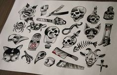 Halloween tattoo designs from last year! Stay posted for this years halloween tattoo flash  we love Halloween!