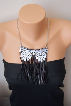 Feather and lace  Necklace/ Statement Necklace/ by ArtofAccessory