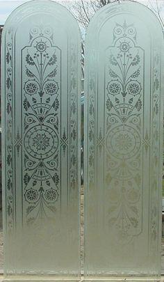 "Pr. Arched Top Antique American Etched Glass Door Panels 1/4"" x 11.5' x 41"" ea.  fid12004"