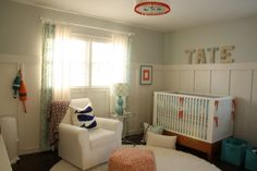 This nursery offers a beautiful mix of traditional, contemporary and modern styles. #nautical #baby #nursery #modern #pinparty