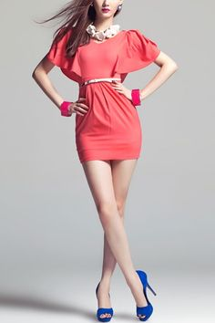 V-neckline Flouncing Zipped Hip Hugging Dress