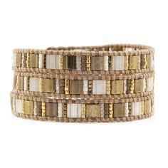 Gold Mix Triple Wrap Bracelet on Henna Leather