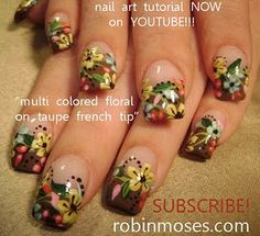 colorful flowers on taupe french by robinmoses from Nail Art Gallery Flower Nail Designs, Flower Nail Art, Nail Art Designs, Color French Manicure, French Manicure Designs, French Manicures, Fall Manicure, Diy Manicure, Country Nails