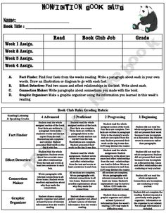 NonFiction Book Club Jobs- Booklet folds hamburger-style and includes a cover page, rubric, and four non-fiction comprehension tasks to be shared in a book club setting!