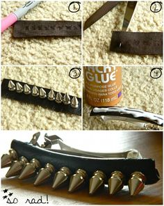DIY Leather and Spiked Barrette DIY Hair Accessories DIY Hair Clips DIY Barrettes