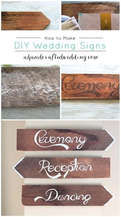 DIY Wedding Signs. How to make your own rustic wedding ceremony and reception signs. {ahandcraftedwedding.com}