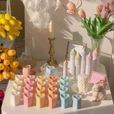 Cute Candles, Best Candles, Diy Candles, Handmade Candles, Pastel Bedroom, Keramik Design, Pastel Decor, Aesthetic Room Decor, Bedroom Designs