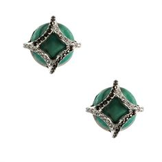 Judith Jack Caged Turquoise Button Earrings