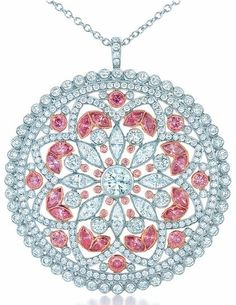 Diamond and pink diamond pendant from the 2013 Tiffany & Co. Blue Book Collection. Via Diamonds in the Library.