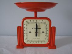 Vintage Orange ACCURATE Kitchen Scale  post by ModernSquareVintage, $78.00
