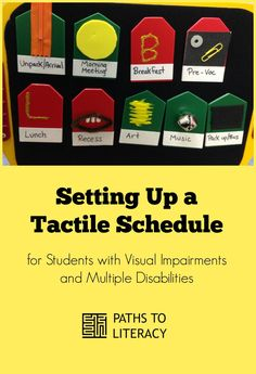 Tips on setting up a tactile schedule for students with CVI, or visual impairments and multiple disabilities Visually Impaired Activities, Tactile Activities, Classroom Activities, Learning Activities, Classroom Ideas, Multiple Disabilities, Learning Disabilities, Classroom Schedule, Autism Classroom