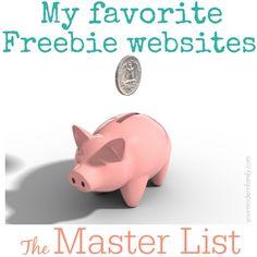 Master list of freebie websites    Great for kids & parents!!