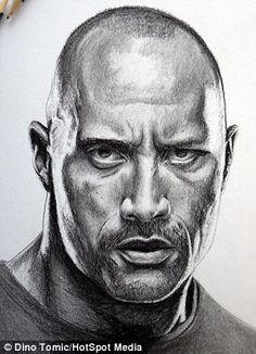 The Rock portrait Realistic Pencil Drawings, Pencil Art Drawings, Art Drawings Sketches, Realistic Sketch, Portrait Sketches, Pencil Portrait, Portrait Art, Marvel Drawings, Celebrity Drawings