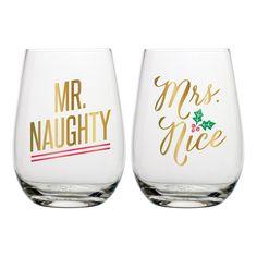 Mr. & Mrs. Holiday Stemless Wine Glass Set
