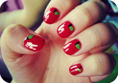 Apple nails! If I were a teacher I'd do this the first day of school to show the kids how cool I am.
