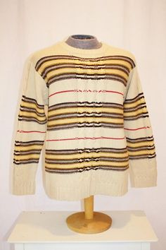 e13cc0ffe7 19990 s South Pole Men s Sweater Tan Striped Earth Tones Large Korea  Vintage REtro 90s Uban Grunge