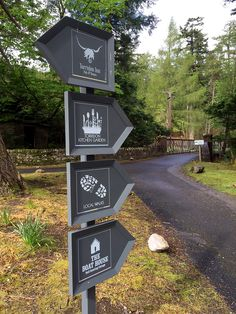 Signage designed by SHINE for The Torridon/ This lets guests know which way to go in the resort and find their way around. Entrance Signage, Park Signage, Directional Signage, Wayfinding Signs, Outdoor Signage, Exterior Signage, Signage Display, Web Banner Design, Sign Board Design