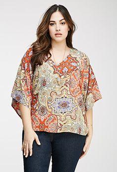 Kimono-Sleeved Paisley Blouse | Forever 21 PLUS | #f21plus